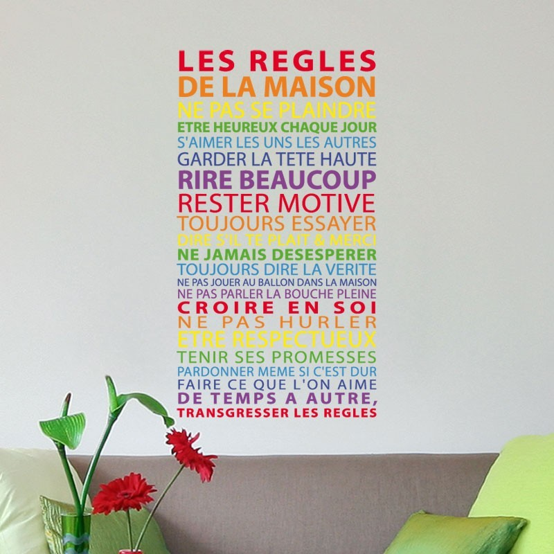 sticker r gles de la maison multicolore texte arc en ciel. Black Bedroom Furniture Sets. Home Design Ideas