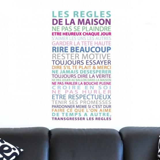 Règles de la Maison - Couleur pastel Stickers Imprimés
