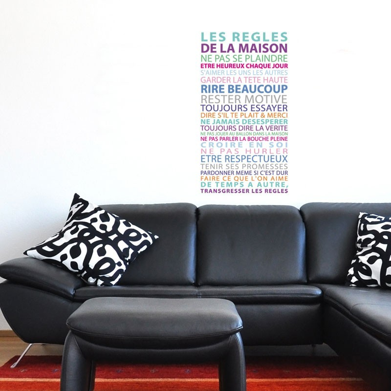 sticker texte r gles de la maison d coration murale couleur pastel gali art. Black Bedroom Furniture Sets. Home Design Ideas