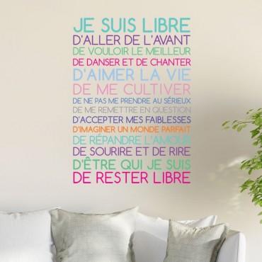 Sticker Texte Je suis libre Pastel
