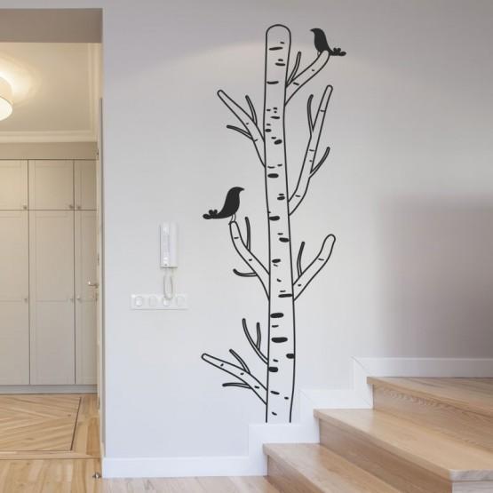 sticker bouleau design avec oiseaux d coration murale nature. Black Bedroom Furniture Sets. Home Design Ideas