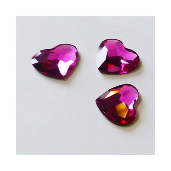 Cristal Swarovski Elements - Coeur Fushia Cristaux adhésifs