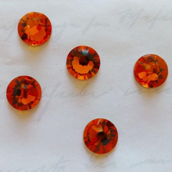 10 Cristaux Swarovski Autocollants Orange Ambre