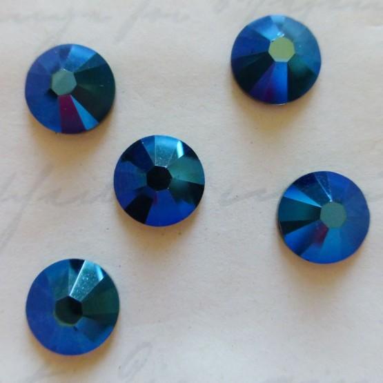 10 Cristaux Swarovski Autocollants Bleu Métallique Cristaux adhésifs