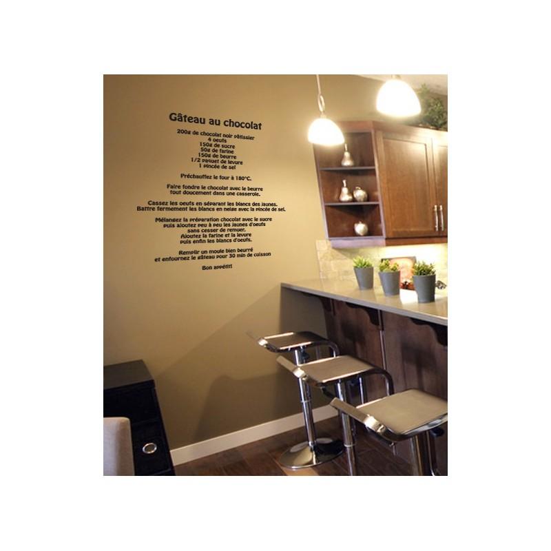 stickers muraux recette du g teau au chocolat d coration murale pour la cuisine. Black Bedroom Furniture Sets. Home Design Ideas