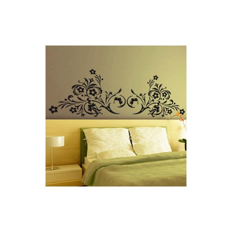 sticker t te de lit arabesque florale d coration chambre. Black Bedroom Furniture Sets. Home Design Ideas