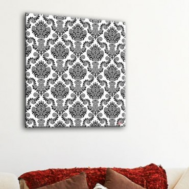 tableau motif baroque fond noir d coration rococo toile en noir et blanc design gali art. Black Bedroom Furniture Sets. Home Design Ideas