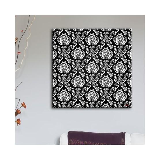 Tableau Motif Baroque Fond Noir