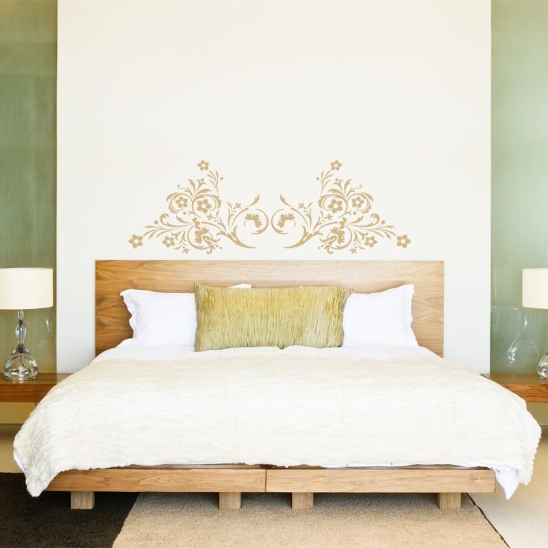 sticker t te de lit arabesque florale d coration chambre coucher. Black Bedroom Furniture Sets. Home Design Ideas