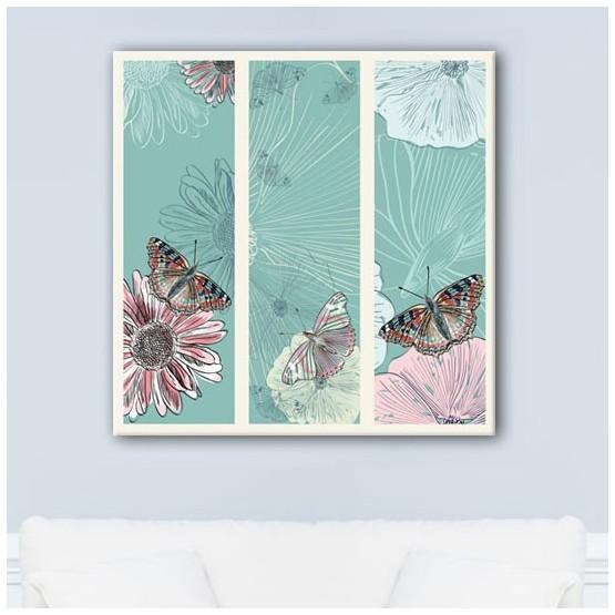 Tableau Fleurs et Papillons