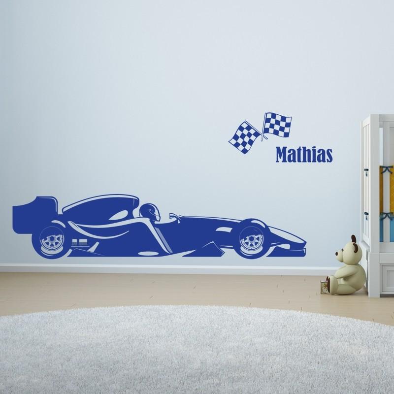 Sticker formule 1 personnalis d coration voiture de for Stickers voiture pour chambre garcon