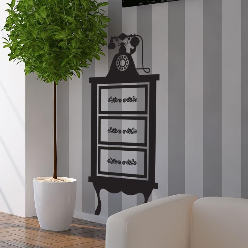 stickers meuble téléphone - décoration murale baroque chic - Meuble Telephone Design