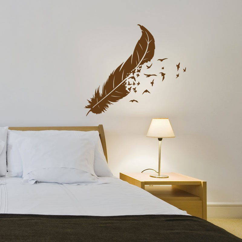stickers plume po tique d coration murale nature. Black Bedroom Furniture Sets. Home Design Ideas