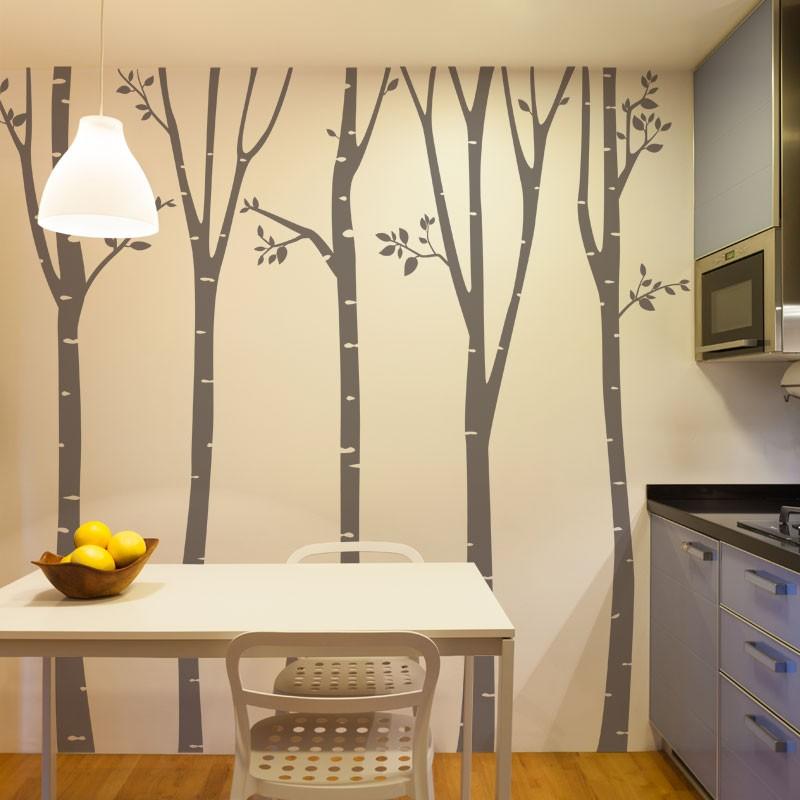 stickers arbre for t de bouleau d coration murale nature g ante. Black Bedroom Furniture Sets. Home Design Ideas