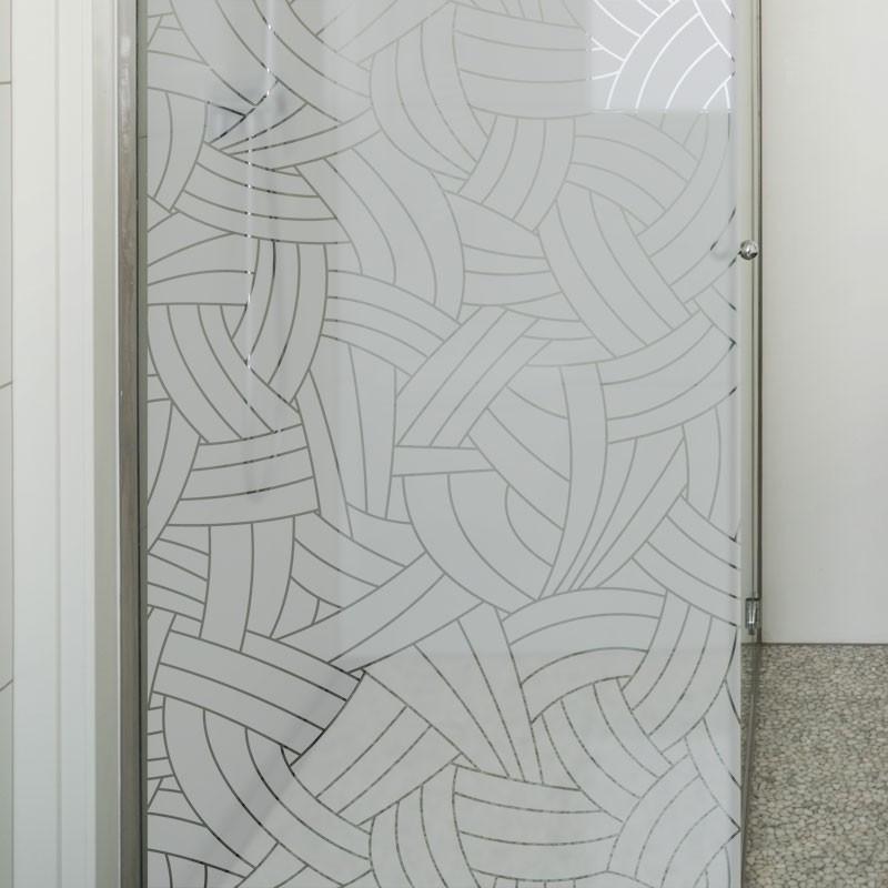 sticker paroi de douche occultant motif tressage d coration salle de bain. Black Bedroom Furniture Sets. Home Design Ideas
