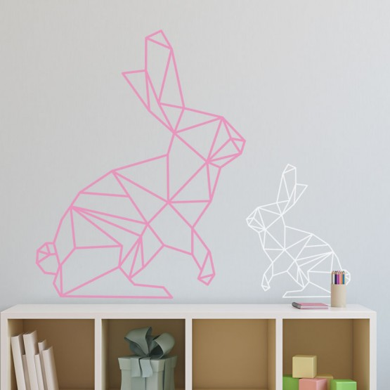 Stickers lapin g om trique d coration murale origami enfant for Decoration murale geometrique