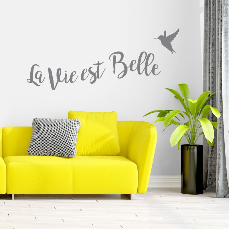 sticker citation positive la vie est belle d coration. Black Bedroom Furniture Sets. Home Design Ideas