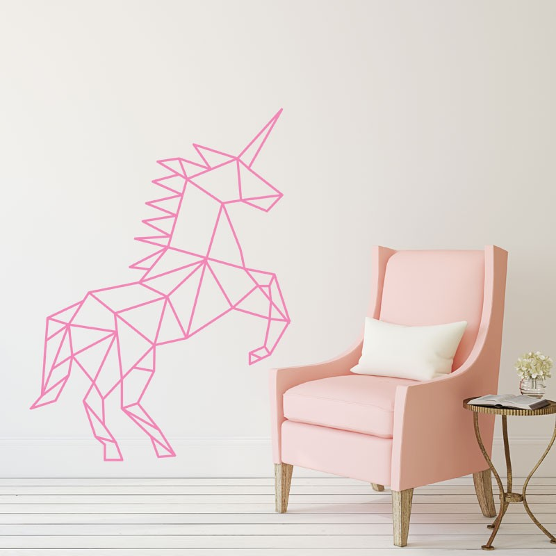 Stickers licorne g om trique d coration murale tendance for Decoration murale licorne