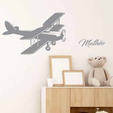 Stickers Avion Bi Plan avec Prénom