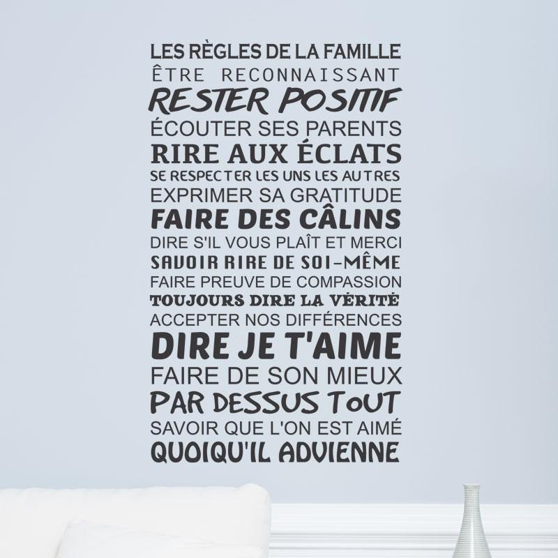 Sticker Texte Les Regles De La Famille Decoration Murale Positive Gali Art Com