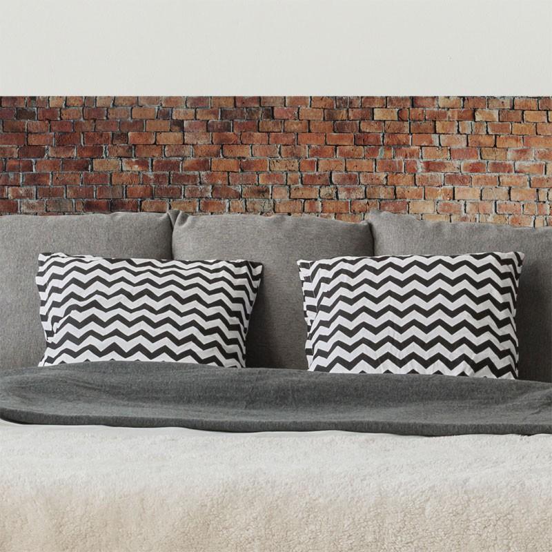 sticker t te de lit mur de brique d corative d coration urbaine pour la chambre. Black Bedroom Furniture Sets. Home Design Ideas