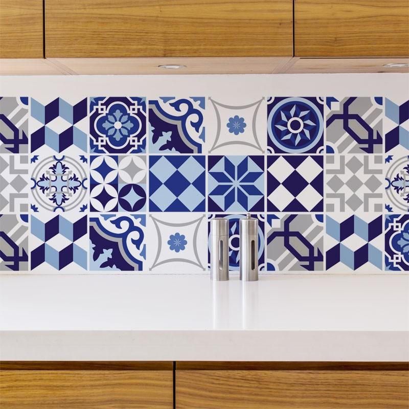 stickers carreau ciment bleu d coration cuisine et salle de bain azulejos adh sif. Black Bedroom Furniture Sets. Home Design Ideas