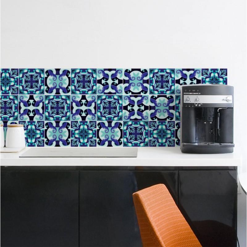 stickers carreau de ciment turquoise et pourpre d coration cuisine id e relooking. Black Bedroom Furniture Sets. Home Design Ideas