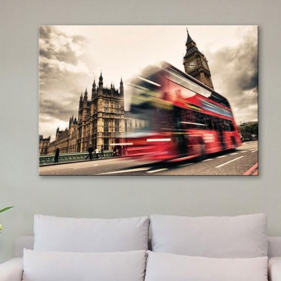 Tableau Londres en Bus Tableaux Urbain Gali Art