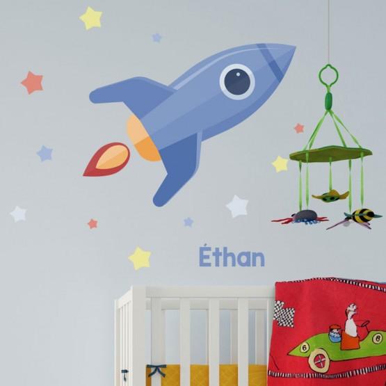 Stickers Fusée dans les étoiles Stickers Chambres Enfants Gali Art