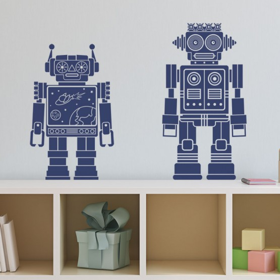 Stickers Duo de Robots Stickers Chambres Enfants Gali Art