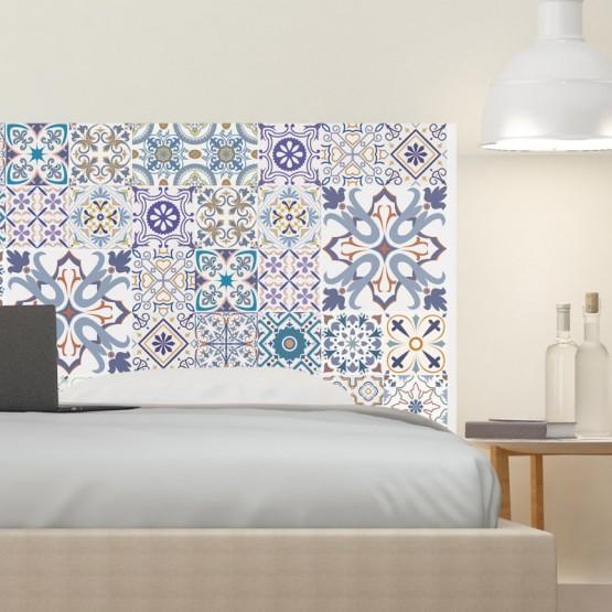 Tête de Lit Carreau de Ciment Mix Bleu Stickers Têtes de Lit Gali Art