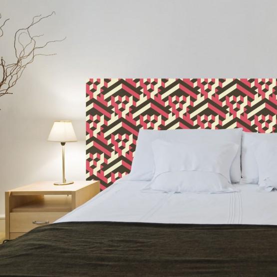 Tête de Lit Abstraction géométrique en Rouge et Noir Stickers Têtes de Lit Gali Art