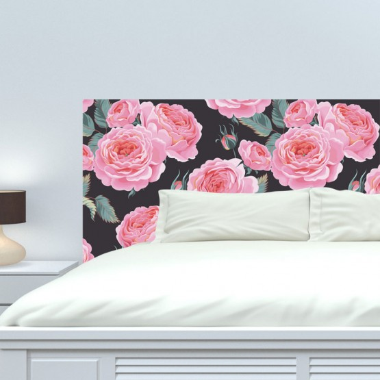 t te de lit design rose sur fond noir d coration. Black Bedroom Furniture Sets. Home Design Ideas
