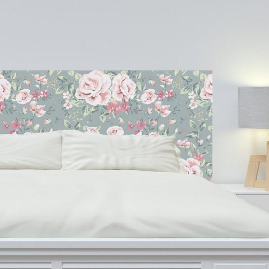 tête de lit fleur rose sur fond gris - décoration chambre nature vintage