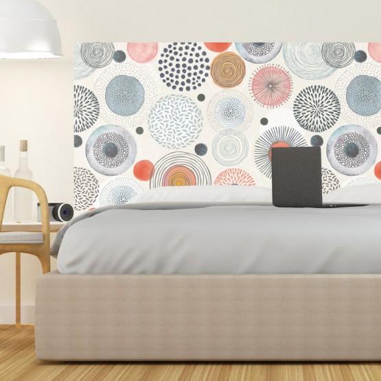 Tête de Lit décor Cercles en aquarelle Stickers Têtes de Lit Gali Art