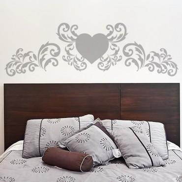 Sticker Tête de lit Coeur Style Baroque