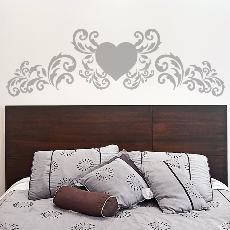 sticker t te de lit coeur d coration chambre baroque. Black Bedroom Furniture Sets. Home Design Ideas