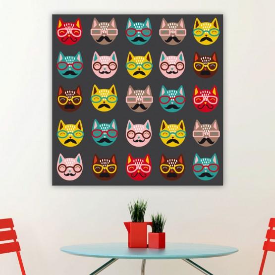 Tableau Chats à lunettes Tableaux Animaux Gali Art