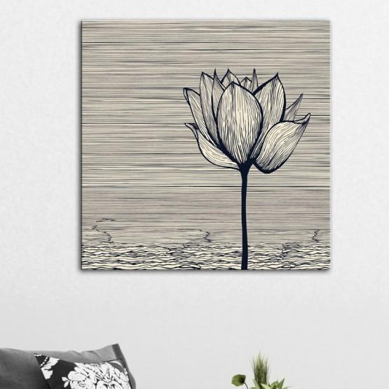 Tableau Fleur de Lotus au trait Tableaux Design Gali Art