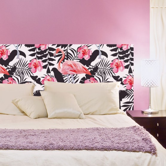 t te de lit adh sive flamant rose exotique d coration chambre coucher. Black Bedroom Furniture Sets. Home Design Ideas