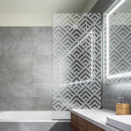 sticker d poli paroi de douche cubes art d co d coration salle de bain. Black Bedroom Furniture Sets. Home Design Ideas