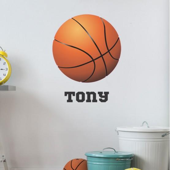 Sticker Basketball avec prénom Stickers Chambres Enfants Gali Art
