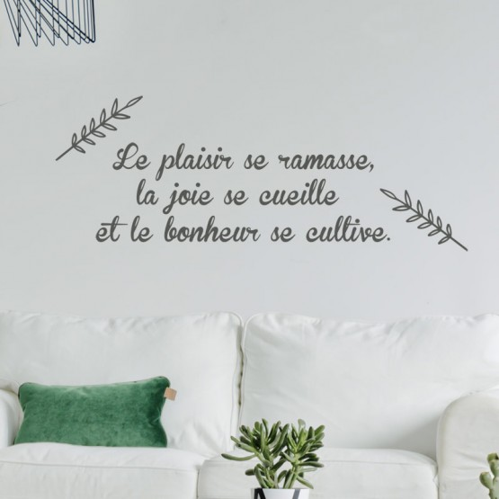 Sticker Citation Plaisir Joie Bonheur Stickers Texte et Citations Gali Art