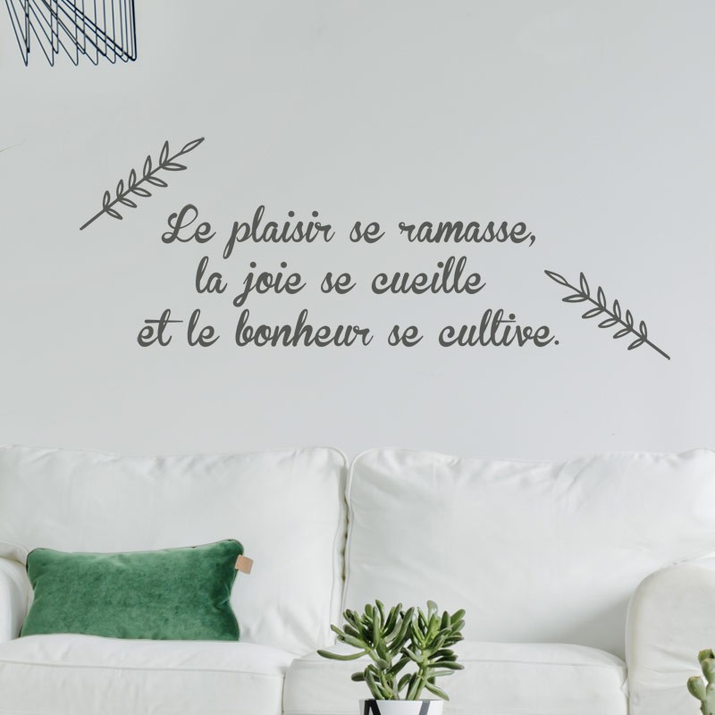 sticker citation plaisir joie bonheur stickers muraux texte positif. Black Bedroom Furniture Sets. Home Design Ideas