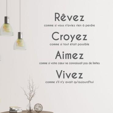 Sticker Citation: Rêvez, croyez, aimez, vivez