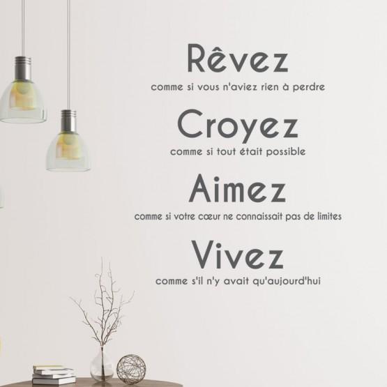 Sticker Citation: Rêvez, croyez, aimez, vivez Stickers Texte et Citations Gali Art