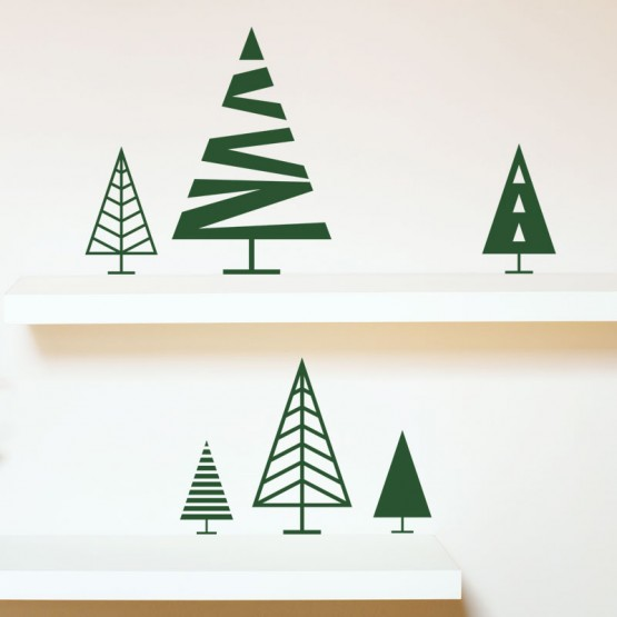 Lot de 6 Sapins design Stickers Festivités Gali Art