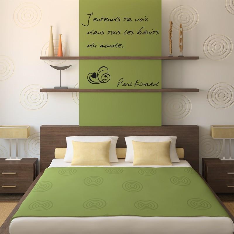 Sticker citation d 39 amour paul eluard d coration murale for Decoration murale romantique