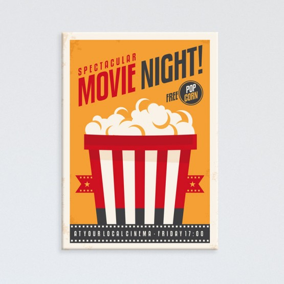 Tableau Pop Corn Movie Night Tableaux Pop Numeric Gali Art
