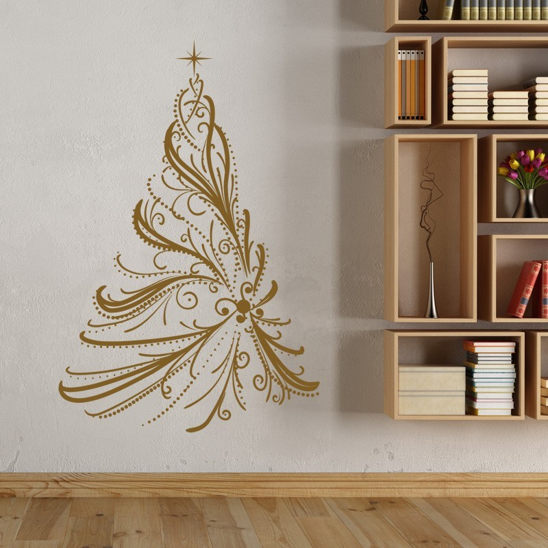sticker sapin de no l majestueux d coration adh sive. Black Bedroom Furniture Sets. Home Design Ideas